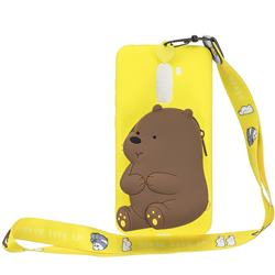 Yellow Bear Neck Lanyard Zipper Wallet Silicone Case for Mi Xiaomi Pocophone F1