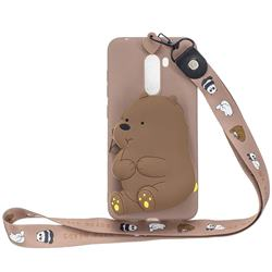 Brown Bear Neck Lanyard Zipper Wallet Silicone Case for Mi Xiaomi Pocophone F1