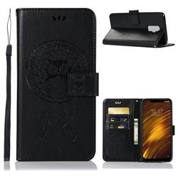 Intricate Embossing Owl Campanula Leather Wallet Case for Mi Xiaomi Pocophone F1 - Black