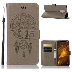 Intricate Embossing Owl Campanula Leather Wallet Case for Mi Xiaomi Pocophone F1 - Grey