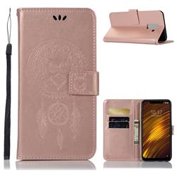 Intricate Embossing Owl Campanula Leather Wallet Case for Mi Xiaomi Pocophone F1 - Rose Gold