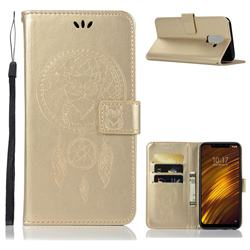 Intricate Embossing Owl Campanula Leather Wallet Case for Mi Xiaomi Pocophone F1 - Champagne