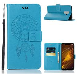 Intricate Embossing Owl Campanula Leather Wallet Case for Mi Xiaomi Pocophone F1 - Blue