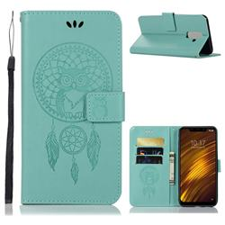 Intricate Embossing Owl Campanula Leather Wallet Case for Mi Xiaomi Pocophone F1 - Green