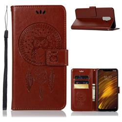 Intricate Embossing Owl Campanula Leather Wallet Case for Mi Xiaomi Pocophone F1 - Brown