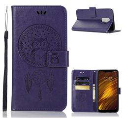 Intricate Embossing Owl Campanula Leather Wallet Case for Mi Xiaomi Pocophone F1 - Purple