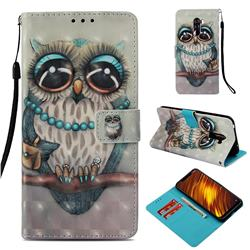 Sweet Gray Owl 3D Painted Leather Wallet Case for Mi Xiaomi Pocophone F1