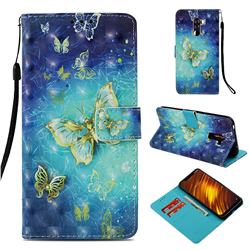 Gold Butterfly 3D Painted Leather Wallet Case for Mi Xiaomi Pocophone F1