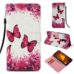 Rose Butterfly 3D Painted Leather Wallet Case for Mi Xiaomi Pocophone F1