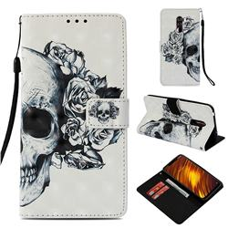 Skull Flower 3D Painted Leather Wallet Case for Mi Xiaomi Pocophone F1