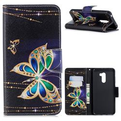 Golden Shining Butterfly Leather Wallet Case for Mi Xiaomi Pocophone F1