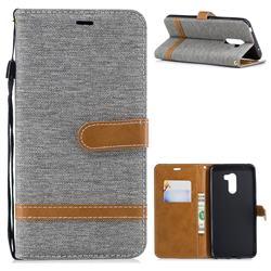 Jeans Cowboy Denim Leather Wallet Case for Mi Xiaomi Pocophone F1 - Gray