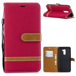 Jeans Cowboy Denim Leather Wallet Case for Mi Xiaomi Pocophone F1 - Red