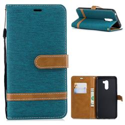 Jeans Cowboy Denim Leather Wallet Case for Mi Xiaomi Pocophone F1 - Green