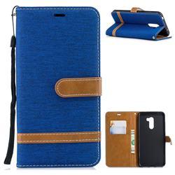 Jeans Cowboy Denim Leather Wallet Case for Mi Xiaomi Pocophone F1 - Sapphire