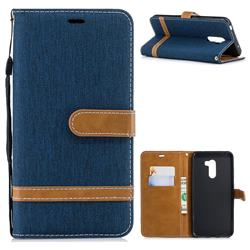 Jeans Cowboy Denim Leather Wallet Case for Mi Xiaomi Pocophone F1 - Dark Blue