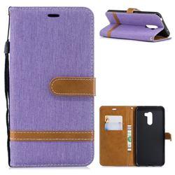 Jeans Cowboy Denim Leather Wallet Case for Mi Xiaomi Pocophone F1 - Purple