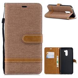 Jeans Cowboy Denim Leather Wallet Case for Mi Xiaomi Pocophone F1 - Brown