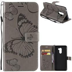 Embossing 3D Butterfly Leather Wallet Case for Mi Xiaomi Pocophone F1 - Gray