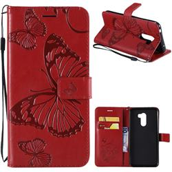 Embossing 3D Butterfly Leather Wallet Case for Mi Xiaomi Pocophone F1 - Red