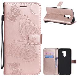 Embossing 3D Butterfly Leather Wallet Case for Mi Xiaomi Pocophone F1 - Rose Gold