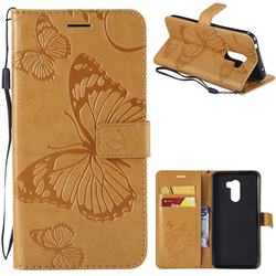 Embossing 3D Butterfly Leather Wallet Case for Mi Xiaomi Pocophone F1 - Yellow