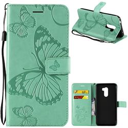 Embossing 3D Butterfly Leather Wallet Case for Mi Xiaomi Pocophone F1 - Green
