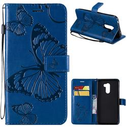 Embossing 3D Butterfly Leather Wallet Case for Mi Xiaomi Pocophone F1 - Blue