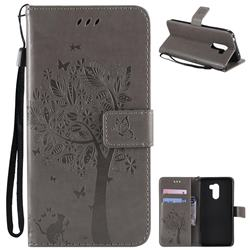 Embossing Butterfly Tree Leather Wallet Case for Mi Xiaomi Pocophone F1 - Grey