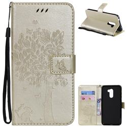 Embossing Butterfly Tree Leather Wallet Case for Mi Xiaomi Pocophone F1 - Champagne