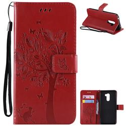 Embossing Butterfly Tree Leather Wallet Case for Mi Xiaomi Pocophone F1 - Red