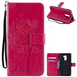 Embossing Butterfly Tree Leather Wallet Case for Mi Xiaomi Pocophone F1 - Rose