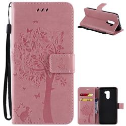 Embossing Butterfly Tree Leather Wallet Case for Mi Xiaomi Pocophone F1 - Pink