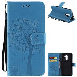 Embossing Butterfly Tree Leather Wallet Case for Mi Xiaomi Pocophone F1 - Blue