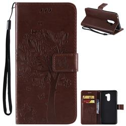 Embossing Butterfly Tree Leather Wallet Case for Mi Xiaomi Pocophone F1 - Coffee
