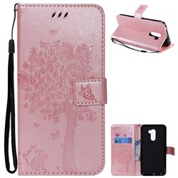Embossing Butterfly Tree Leather Wallet Case for Mi Xiaomi Pocophone F1 - Rose Pink