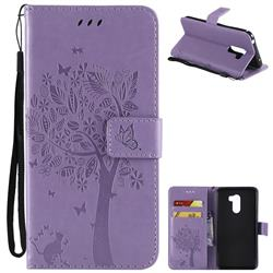 Embossing Butterfly Tree Leather Wallet Case for Mi Xiaomi Pocophone F1 - Violet