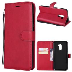 Retro Greek Classic Smooth PU Leather Wallet Phone Case for Mi Xiaomi Pocophone F1 - Red