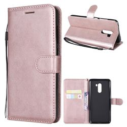 Retro Greek Classic Smooth PU Leather Wallet Phone Case for Mi Xiaomi Pocophone F1 - Rose Gold