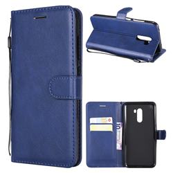 Retro Greek Classic Smooth PU Leather Wallet Phone Case for Mi Xiaomi Pocophone F1 - Blue