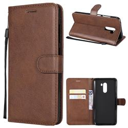 Retro Greek Classic Smooth PU Leather Wallet Phone Case for Mi Xiaomi Pocophone F1 - Brown