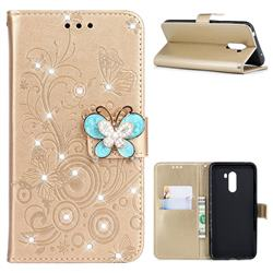 Embossing Butterfly Circle Rhinestone Leather Wallet Case for Mi Xiaomi Pocophone F1 - Champagne