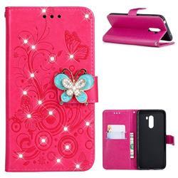 Embossing Butterfly Circle Rhinestone Leather Wallet Case for Mi Xiaomi Pocophone F1 - Red