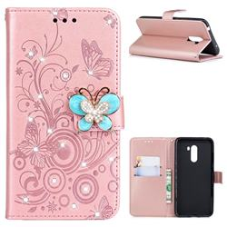 Embossing Butterfly Circle Rhinestone Leather Wallet Case for Mi Xiaomi Pocophone F1 - Rose Gold