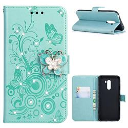 Embossing Butterfly Circle Rhinestone Leather Wallet Case for Mi Xiaomi Pocophone F1 - Cyan