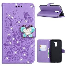Embossing Butterfly Circle Rhinestone Leather Wallet Case for Mi Xiaomi Pocophone F1 - Purple