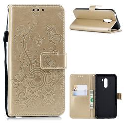 Intricate Embossing Butterfly Circle Leather Wallet Case for Mi Xiaomi Pocophone F1 - Champagne