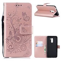 Intricate Embossing Butterfly Circle Leather Wallet Case for Mi Xiaomi Pocophone F1 - Rose Gold