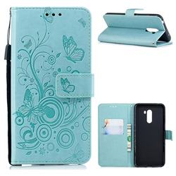 Intricate Embossing Butterfly Circle Leather Wallet Case for Mi Xiaomi Pocophone F1 - Cyan