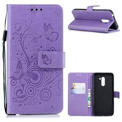 Intricate Embossing Butterfly Circle Leather Wallet Case for Mi Xiaomi Pocophone F1 - Purple